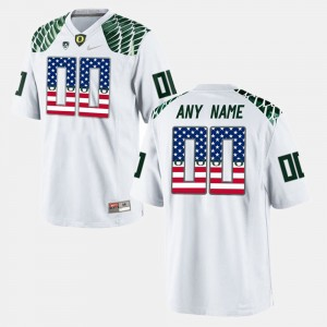Men's University of Oregon #00 US Flag Fashion college Custom Jerseys - White