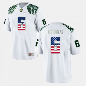 Mens US Flag Fashion #6 University of Oregon De'Anthony Thomas college Jersey - White
