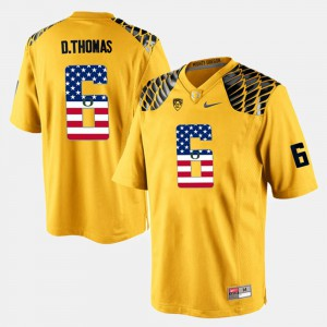 Men's Oregon Ducks #6 US Flag Fashion De'Anthony Thomas college Jersey - Yellow