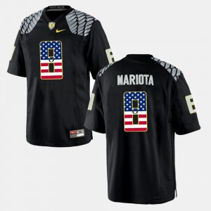 Men's #8 Oregon Ducks US Flag Fashion Marcus Mariota college Jersey - Black
