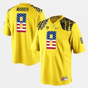 Mens Oregon Duck #8 US Flag Fashion Marcus Mariota college Jersey - Yellow