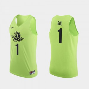 Men's Oregon Duck Basketball #1 Authentic Bol Bol college Jersey - Apple Green