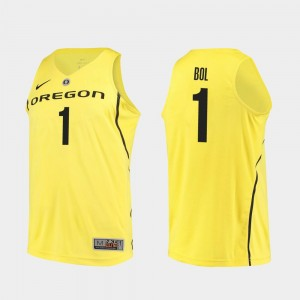 Men's #1 Bol Bol college Jersey - Yellow Authentic Basketball University of Oregon