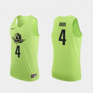 Men #4 Basketball Oregon Duck Authentic Ehab Amin college Jersey - Apple Green
