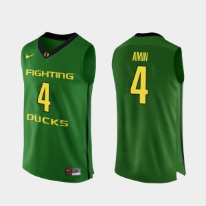Men Authentic Basketball #4 Oregon Ducks Ehab Amin college Jersey - Apple Green