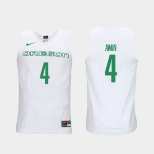Men Elite Authentic Performance Basketball Authentic Performace #4 UO Ehab Amin college Jersey - White