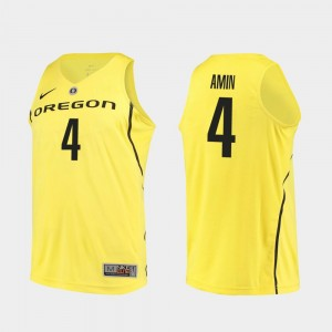 Men Authentic Ducks Basketball #4 Ehab Amin college Jersey - Yellow