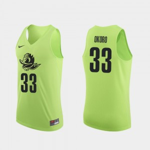Mens University of Oregon Authentic #33 Basketball Francis Okoro college Jersey - Apple Green