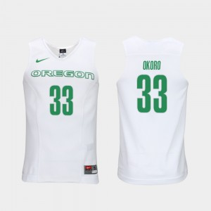 Men's Ducks Elite Authentic Performance Basketball #33 Authentic Performace Francis Okoro college Jersey - White