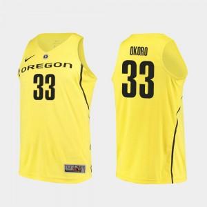 Men Basketball Oregon Ducks Authentic #33 Francis Okoro college Jersey - Yellow
