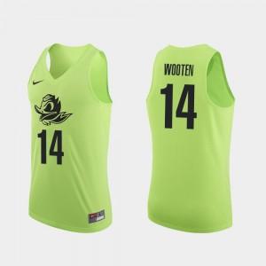 Men Authentic Ducks #14 Basketball Kenny Wooten college Jersey - Apple Green