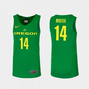 Men Basketball UO Replica #14 Kenny Wooten college Jersey - Green