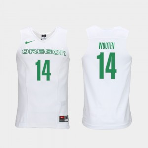 Men's Ducks #14 Elite Authentic Performance Basketball Authentic Performace Kenny Wooten college Jersey - White