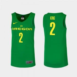 Men's Ducks Basketball #2 Replica Louis King college Jersey - Green