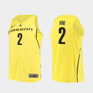 Men's Ducks Authentic Basketball #2 Louis King college Jersey - Yellow