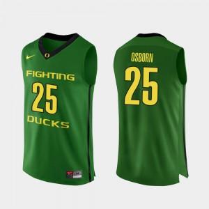 Men #25 Authentic Oregon Ducks Basketball Luke Osborn college Jersey - Apple Green