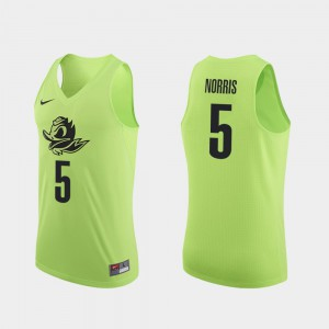 Men Basketball #5 Authentic UO Miles Norris college Jersey - Apple Green
