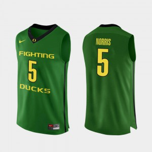 Mens Ducks Authentic #5 Basketball Miles Norris college Jersey - Apple Green