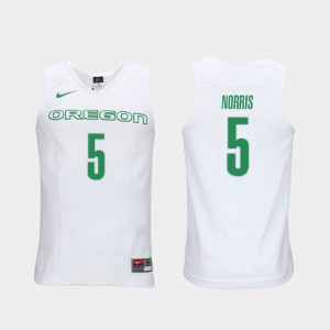 Men Authentic Performace Ducks #5 Elite Authentic Performance Basketball Miles Norris college Jersey - White