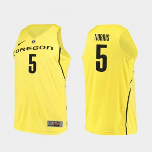 Men's #5 Authentic Oregon Duck Basketball Miles Norris college Jersey - Yellow
