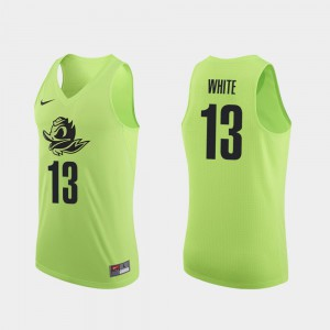 Men Basketball #13 University of Oregon Authentic Paul White college Jersey - Apple Green