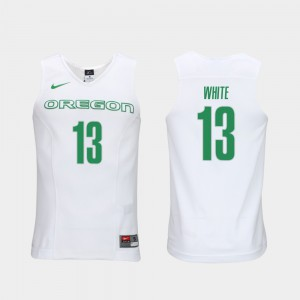 Men Oregon Duck #13 Elite Authentic Performance Basketball Authentic Performace Paul White college Jersey - White