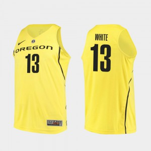 Men's Oregon Duck Authentic Basketball #13 Paul White college Jersey - Yellow
