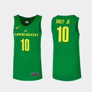 Men's #10 Replica Oregon Duck Basketball Victor Bailey Jr. college Jersey - Green