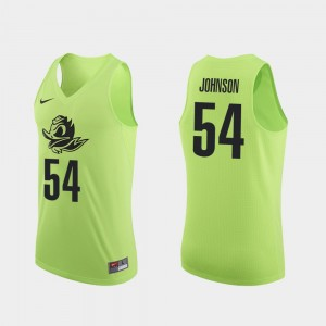 Mens Basketball #54 Ducks Authentic Will Johnson college Jersey - Apple Green