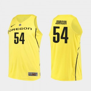 Men's #54 Basketball Oregon Duck Authentic Will Johnson college Jersey - Yellow