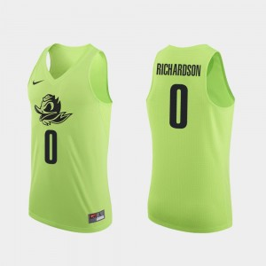 Men Oregon #0 Authentic Basketball Will Richardson college Jersey - Apple Green
