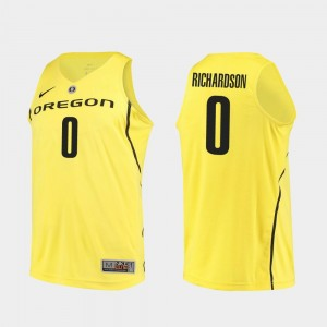 Mens Authentic Ducks Basketball #0 Will Richardson college Jersey - Yellow