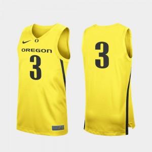 Men Replica Oregon Duck #3 Basketball college Jersey - Yellow