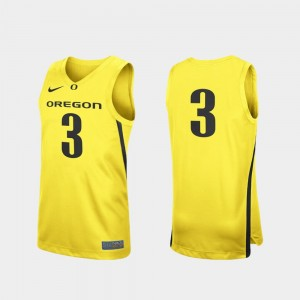 Mens Basketball Replica Ducks #3 college Jersey - Yellow