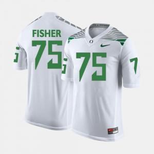 Men Oregon Duck #75 Football Jake Fisher college Jersey - White