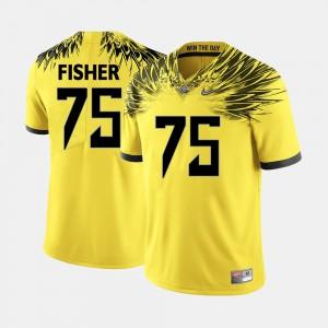 Men Football #75 University of Oregon Jake Fisher college Jersey - Yellow