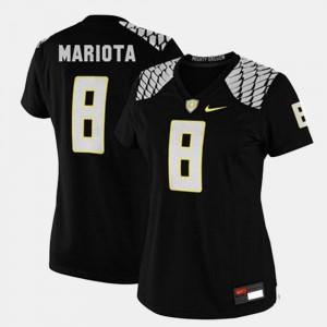 Womens Ducks #8 Football Marcus Mariota college Jersey - Black