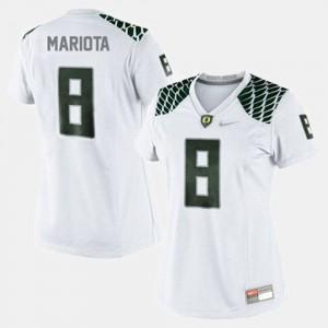 Women's #8 Football Ducks Marcus Mariota college Jersey - White