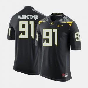 Mens Oregon #91 Football Tony Washington Jr. college Jersey - Black