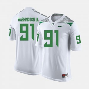 Mens Football #91 Oregon Ducks Tony Washington Jr. college Jersey - White