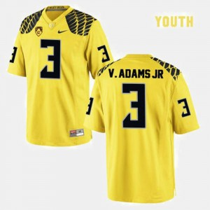Kids #3 Ducks Football Vernon Adams college Jersey - Yellow
