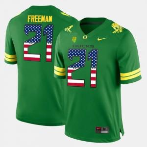 Men US Flag Fashion #21 Oregon Duck Royce Freeman college Jersey - Green