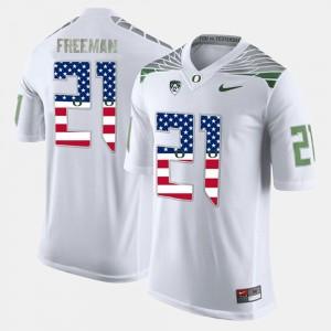Men's US Flag Fashion Oregon #21 Royce Freeman college Jersey - White