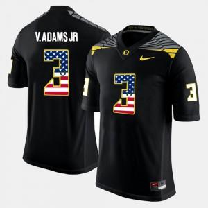 Men's #3 US Flag Fashion Oregon Vernon Adams Jr college Jersey - Black