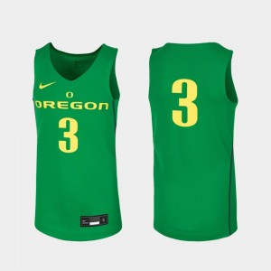 Kids Replica #3 University of Oregon Basketball college Jersey - Kelly Green
