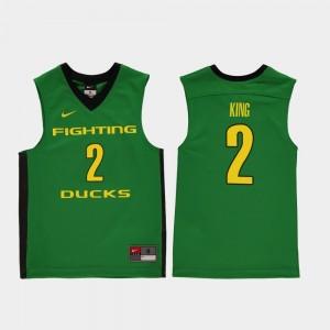 Kids Replica Oregon Ducks #2 Basketball Louis King college Jersey - Green
