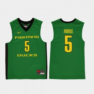 Kids #5 Replica Oregon Basketball Miles Norris college Jersey - Green