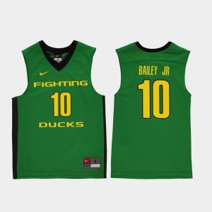 Youth #10 Basketball Replica University of Oregon Victor Bailey Jr. college Jersey - Green